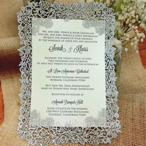 design invitation card unveiling various colors elegant pearl paper lace laser cut