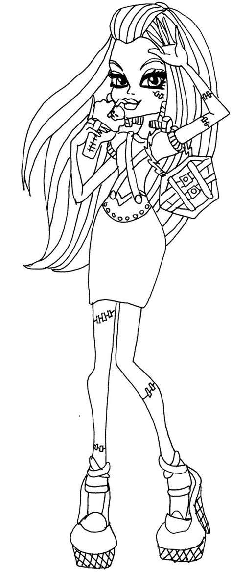 monsters high frankie coloring pages coloring pages