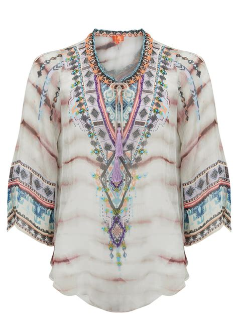 beaded kaftan tops hale bob avant beaded kaftan top taupe