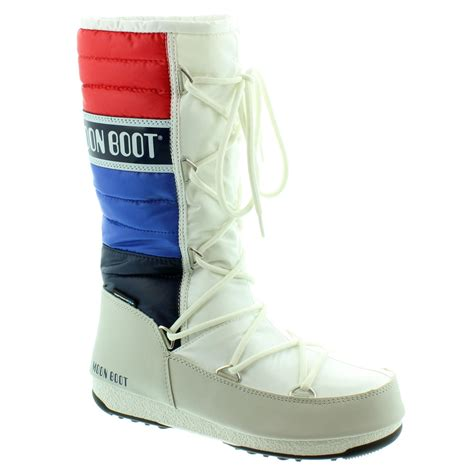 moon shoes moon boot quilted multi moon boots in white in white