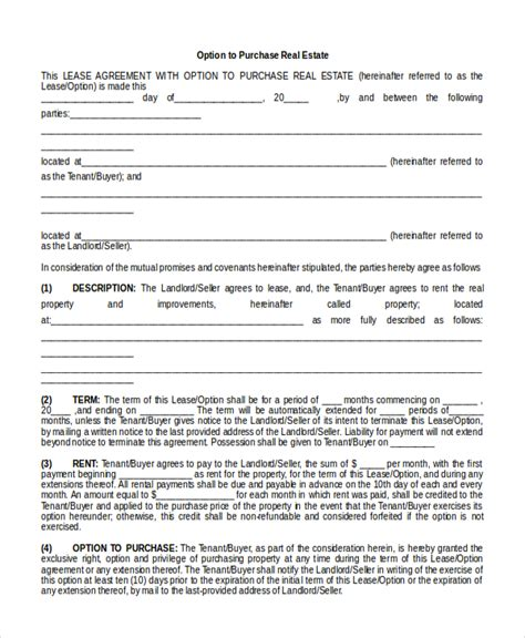 real estate option agreement template 8 sle real estate agreement forms free sle