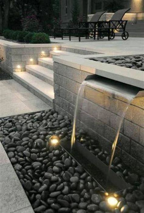 modern water fountain landscaping and outdoor building modern backyard