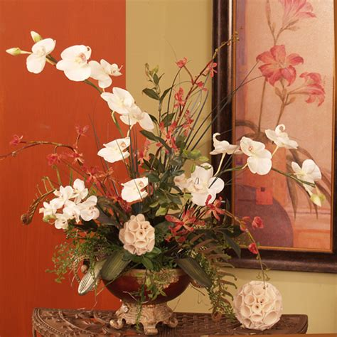 silk arrangements for home decor white phalaenopsis silk orchid floral design o131