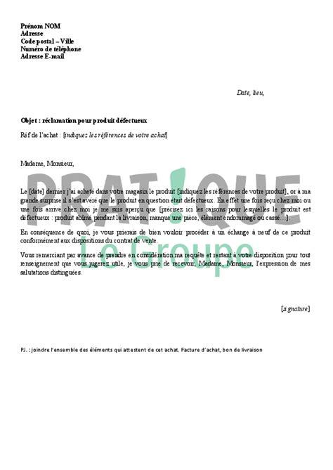 Exemple De Lettre Commerciale Pour Vendre Un Produit lettre de r 233 clamation pour un produit d 233 fectueux pratique fr