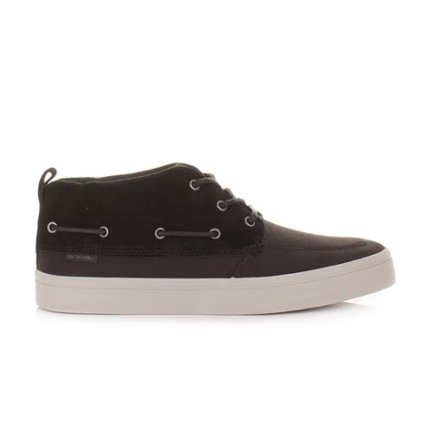 mens animal clay black leather mid top boat deck shoes