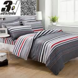 California King White Duvet Cover Grey And Red Stripes Printing 4pc Bedding Set Queen Bed