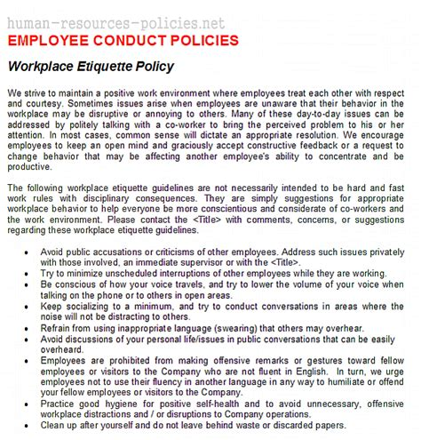 mobile phone policy in the workplace template sle human resources policies sle procedures for