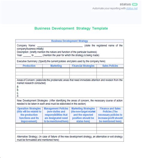 development status report template a great business development status report template free
