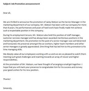 Promotion Announcement by Promotion Announcement Writing Professional Letters