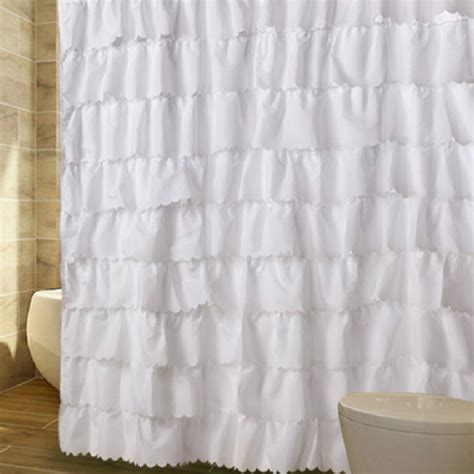 white ruffled shower curtain ruffled shower curtain