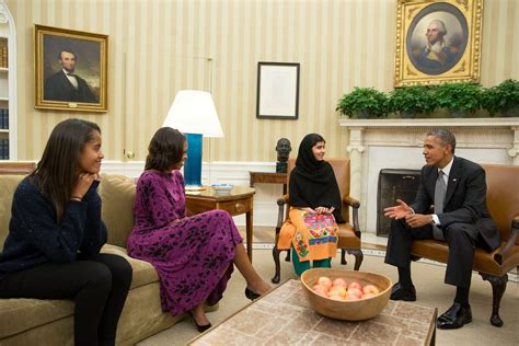 president obama oval office malala meets with obama malia asks us to end drone
