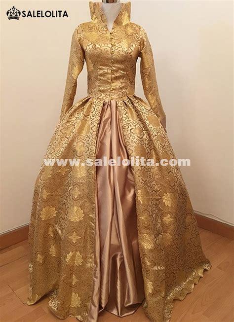 Lomgdress Brocade print brocade tudor jacquard period dress
