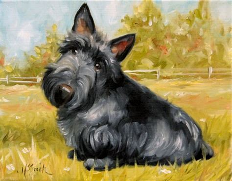 scotty dogs print scottish terrier scottie puppy painting