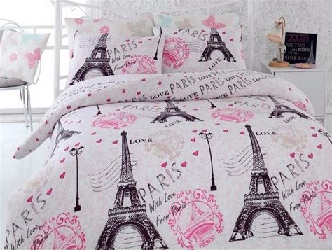 paris pink eiffel tower twin single queen double bedding