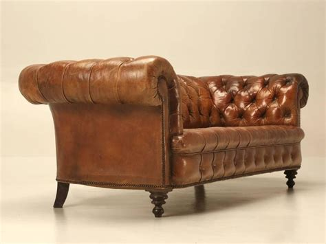 Antique Leather Chesterfield Sofa In Original Leather For Original Chesterfield Sofa