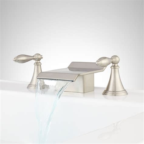 Waterfall Faucet Brushed Nickel Cantrell Widespread Waterfall Faucet Bathroom