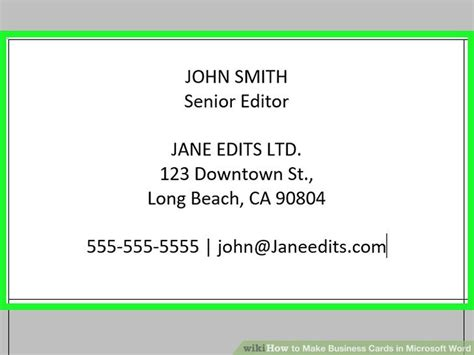 How To Make Business Cards In Word With Pictures