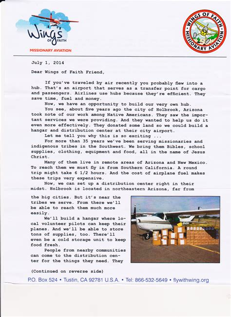 Fundraising Letter Elements fundraising appeal letter for wings of faith