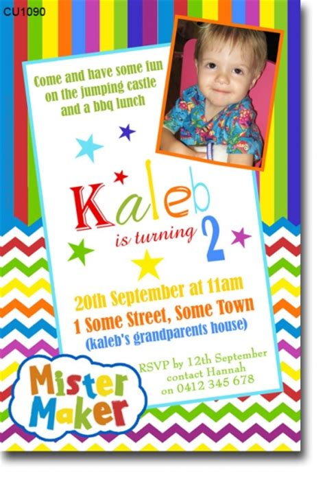birthday invitation editor cu1090 mister maker birthday invitation boys themed birthday invitations birthday
