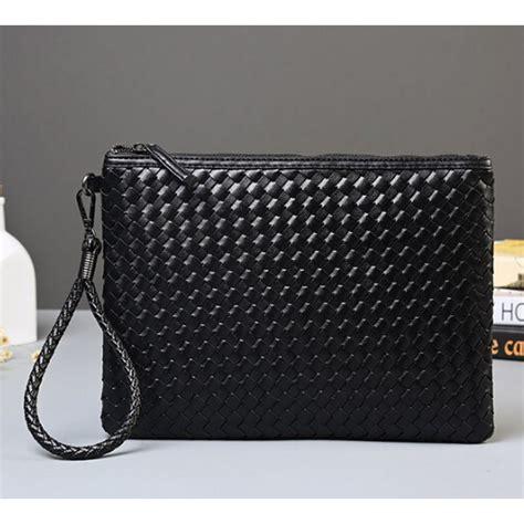 Tas Clutch 2 In 1 Anyam Import 2 tas genggam kulit motif anyam kulit leather clutch bag black jakartanotebook