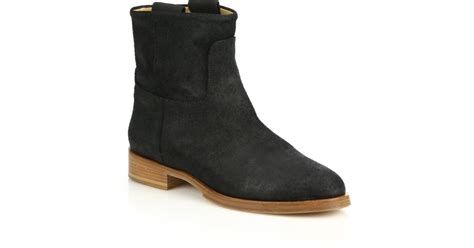 rag bone suede flat ankle boots in black lyst