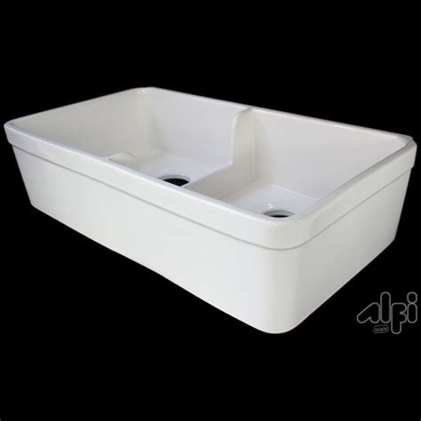 double basin apron front shop alfi 32 in x 17 75 in biscuit double basin fireclay