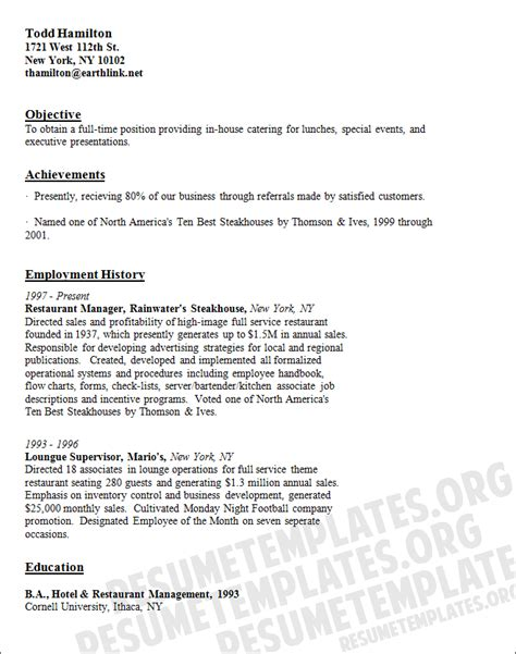 Catering Resume caterer resume template catering cv sles for free