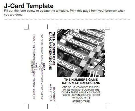 J Card Templat by Custom Cassette Labels J Cards For Your Cassettes