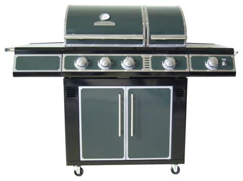 master forge green 3 burner liquid propane gas