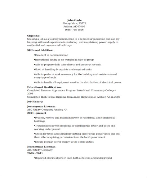 Lineman Resume by 6 Lineman Resume Templates Pdf Doc Free Premium