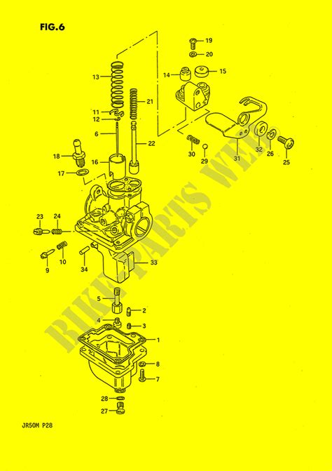 Screwthrottle Stop Sgp 13267 01010 000 carburateur jr50k p28 k 1989 jr50k p28 jr 50 suzuki suzuki moto catalogue de pices