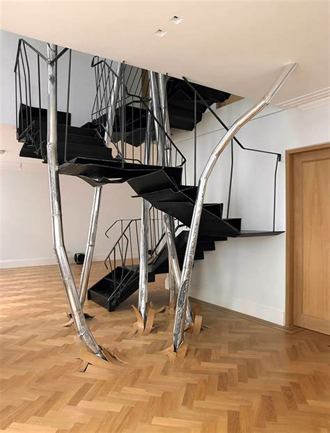 trendy home with super unique staircase black tree stairs ideas