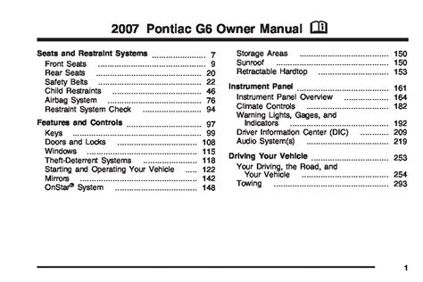 2007 Pontiac G6 Manual by 2007 Pontiac G6 Owners Manual Just Give Me The Damn Manual