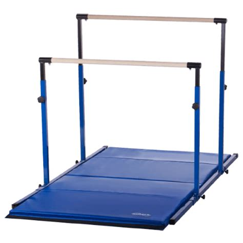blue 3play horizontal gymnastics bars with 8ft blue mat by