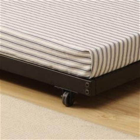 Thin Mattress For Trundle Bed by Walker Edison Roll Out Trundle Bed Frame Black