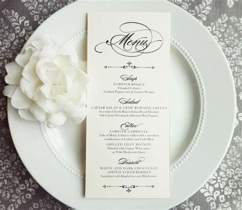 31 Wedding Menu Templates Sle Templates Reception Menu Template
