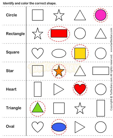 Sorting Shapes Worksheets For Kindergarten by Identify And Colour The Correct Shape Sorting Colours