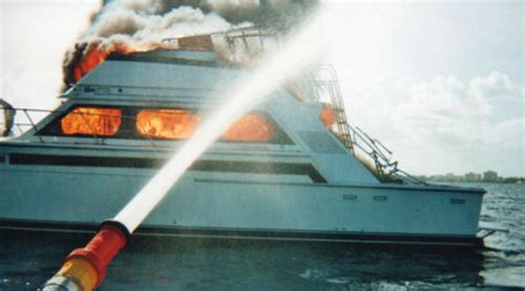tow boat on fire sea tow rescues skipper from burning powerboat