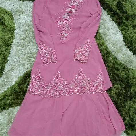 Baju Raya Warna Pink Belacan baju kurung moden manik warna pink belacan muslimah fashion on carousell
