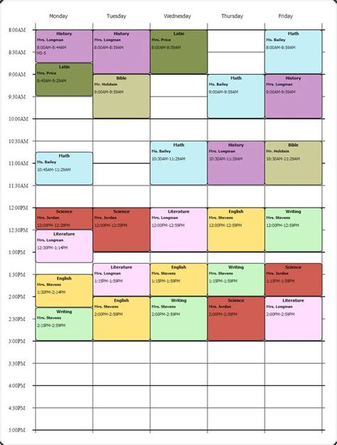 high school student schedule template student daily