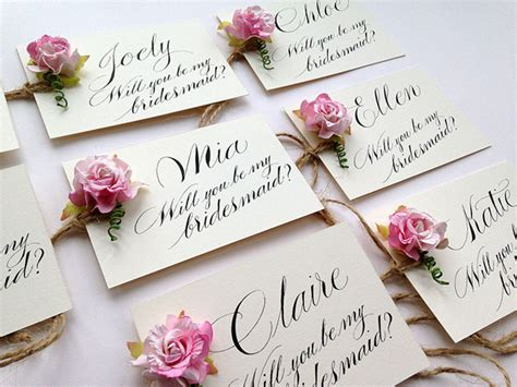 will you be my bridesmaid calligraphy cards the wedding - Personalised Bridesmaid Invitations