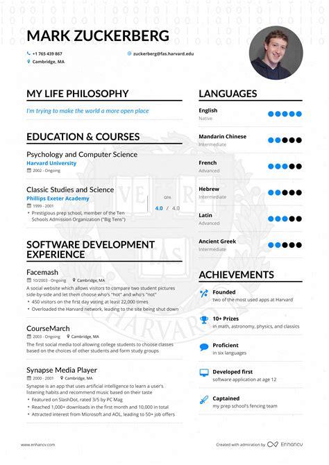 Resume Yahoo Ceo by Zuckerberg S Ceo Resume Enhancv