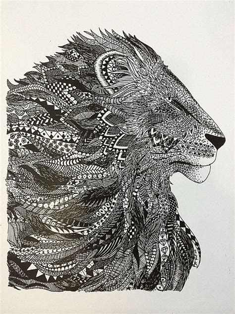 zentangle lion zentangle spiratie pinterest hand drawn zentangle lion ink drawing print by