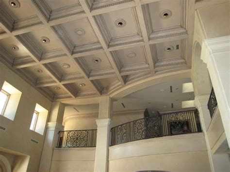 Decorative Wood Ceilings by Provencal Plaster Walls And Wood Inlaid Ceiling Panels