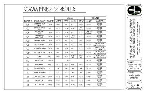 finish schedule    finished room finishing