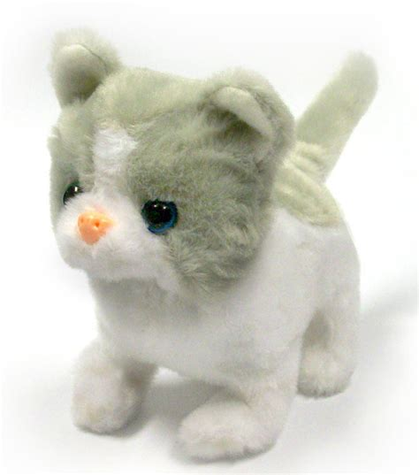 stuffed animals cats gray white cat lifelike stuffed animal meows walks