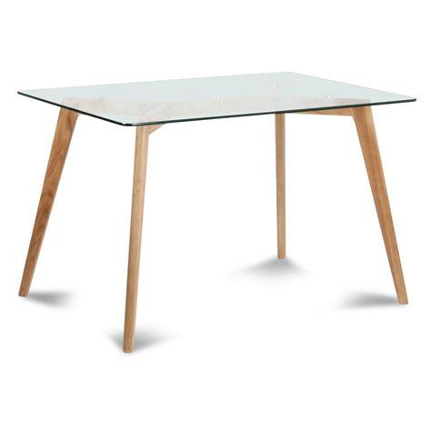table salle a manger verre table rectangulaire plateau de verre style scandinave