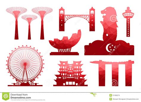 icon design singapore singapore travel icon stock vector illustration of famous