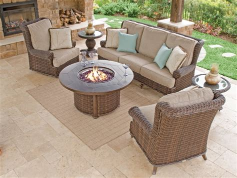 Calypso 4 Pc Aluminum Woven Resin Wicker Fire Pit Sofa Aluminum Wicker Patio Furniture