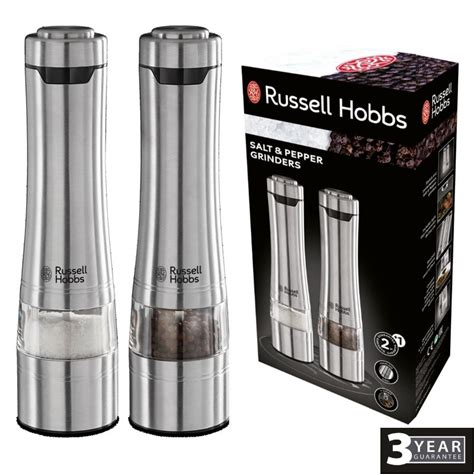 battery operated salt l russell hobbs brushed stainless steel battery powered salt